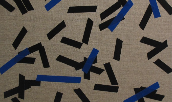 Billy Gruner,  Folk-Tape work No. 6 (Black Blue),  2012, electrical tape, linen artboard, 40 x 50cm