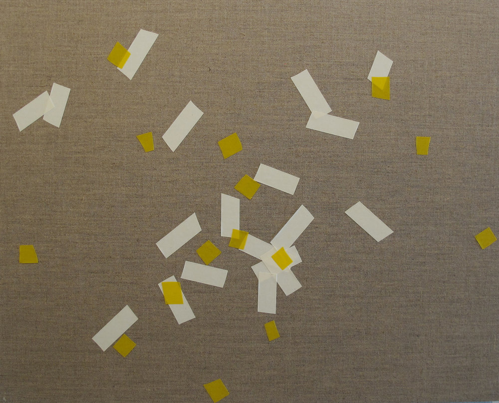 Billy Gruner,  Folk-Tape work No. 3 (White Yellow),  2012, electrical tape, linen artboard, 40 x 50cm