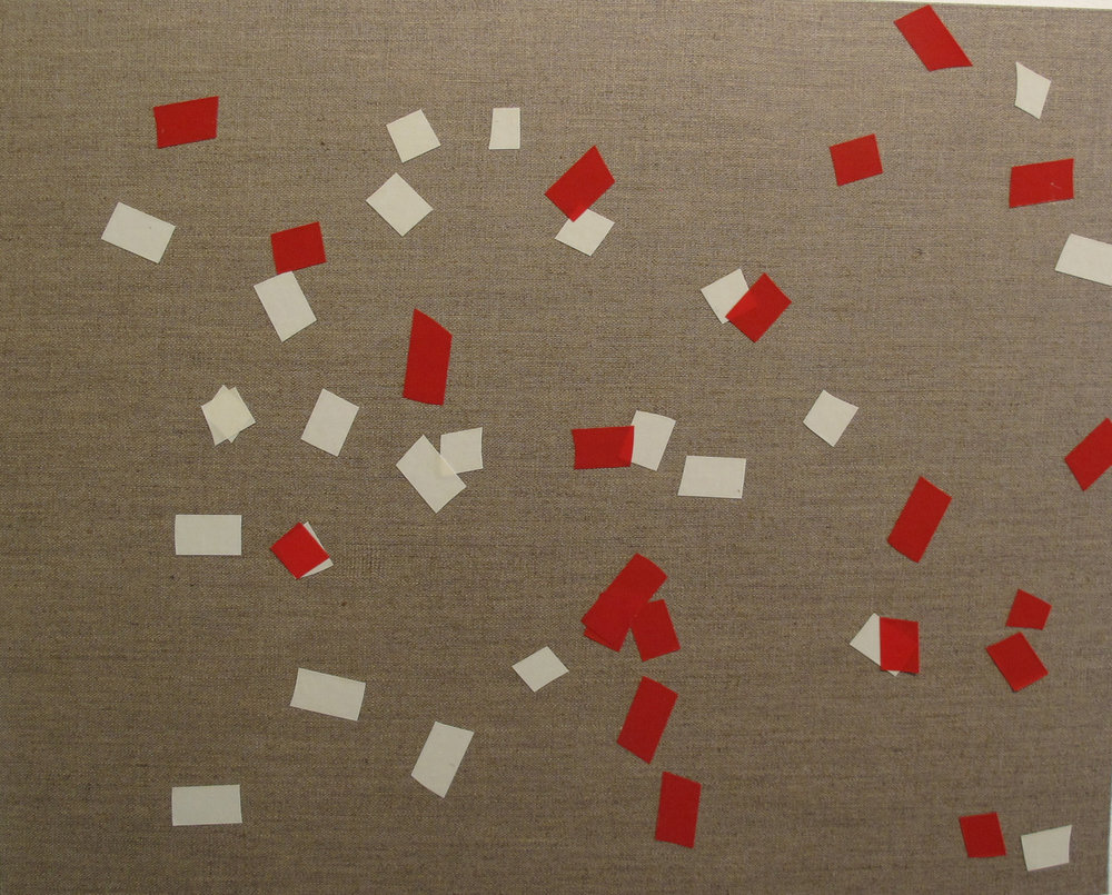 Billy Gruner,  Folk-Tape work No. 2 (White Red)  , 2012, electrical tape, linen artboard, 40 x 50cm