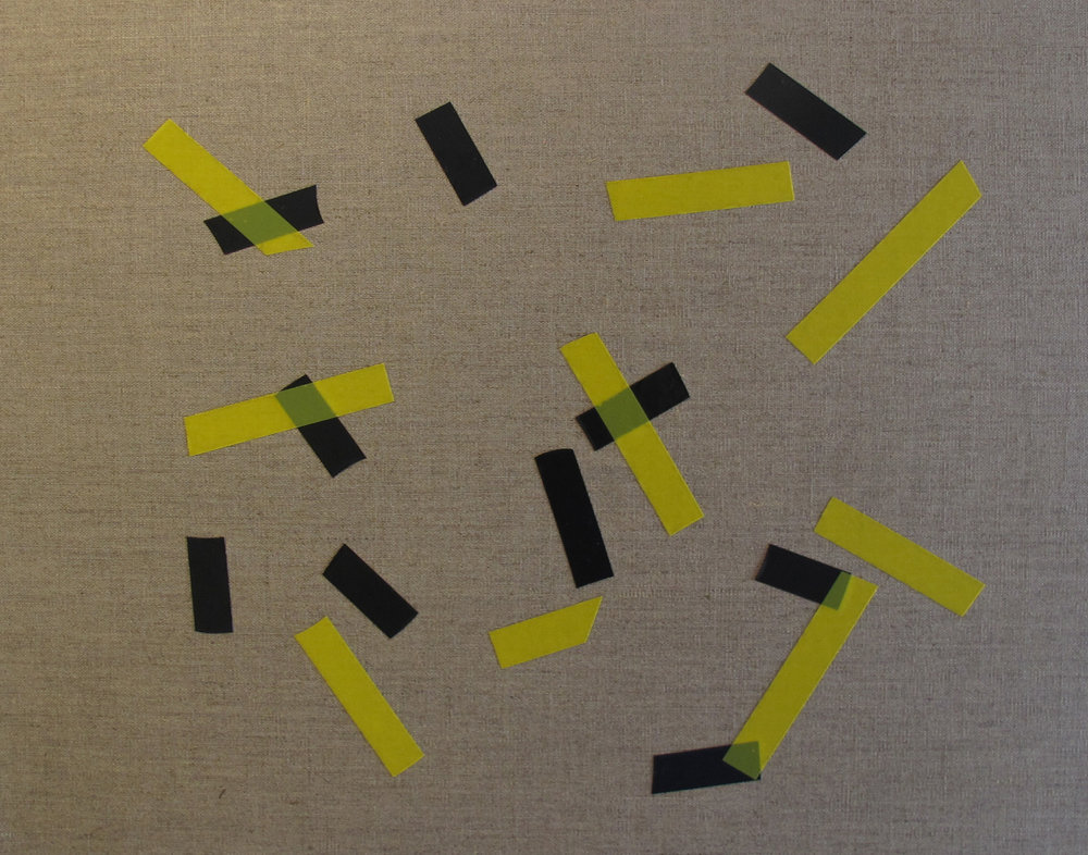 Billy Gruner,  Folk-Tape work No. 4 (Black Yellow),  2012, electrical tape, linen artboard, 40 x 50cm
