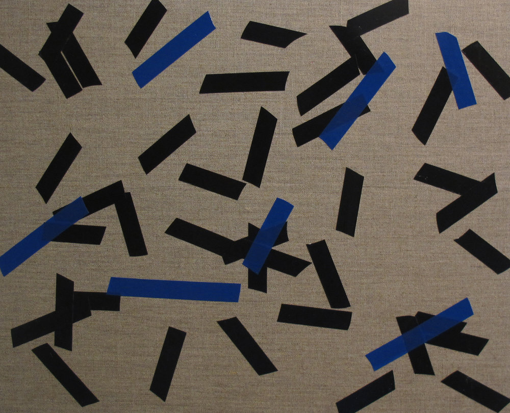 Billy Gruner,  Folk-Tape work No. 6 (Black Blue) , 2012, electrical tape, linen artboard, 40 x 50cm