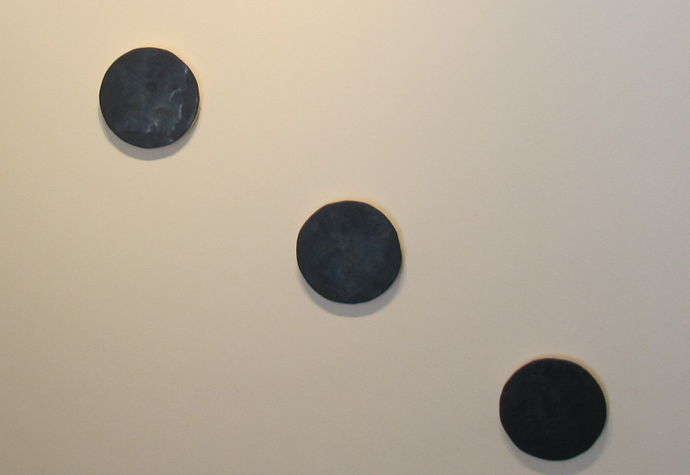 Sarah Keighery,  Additive 28440 (Line),  2012, food colouring, canvas on plywood - 3 x 20cm discs