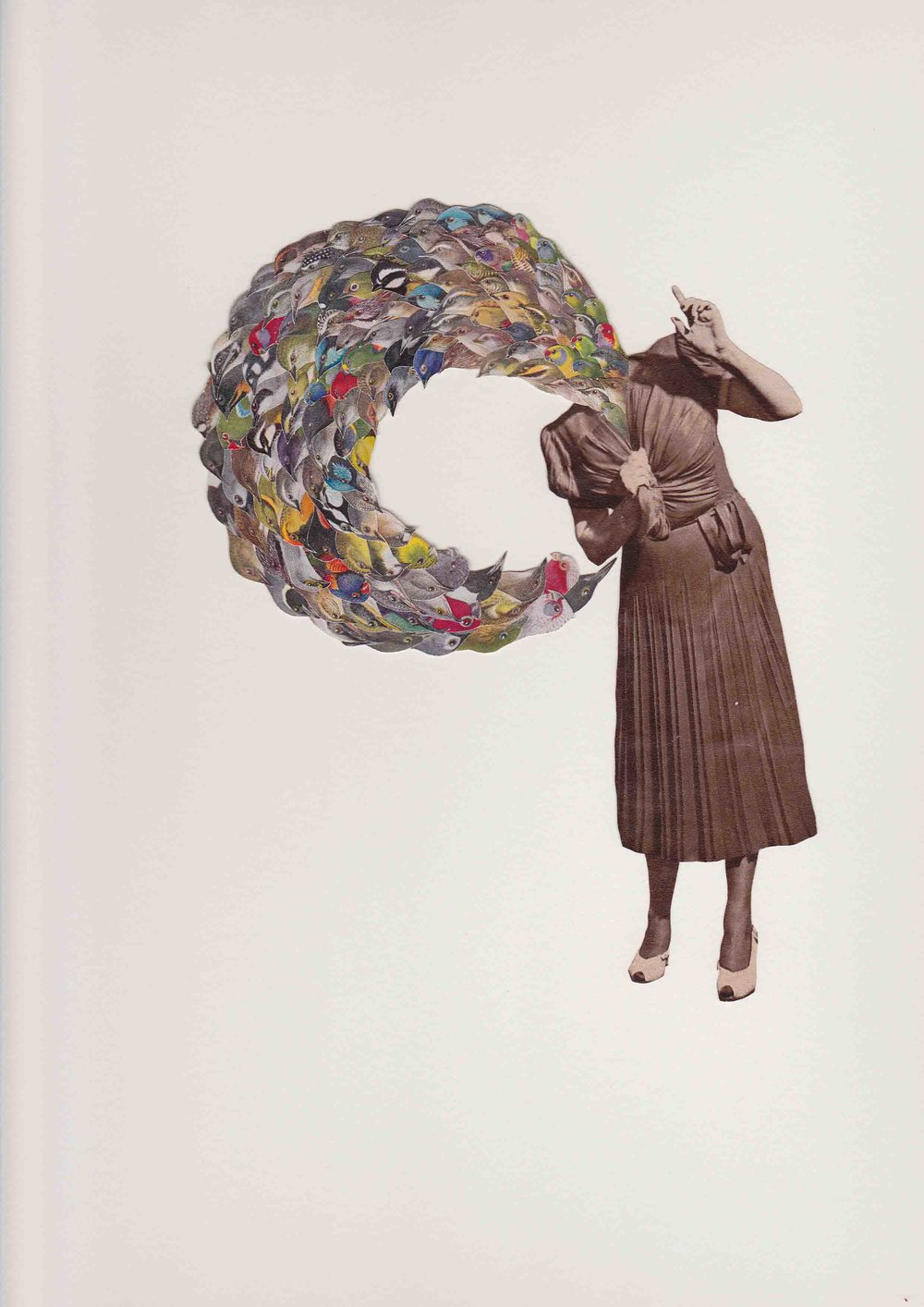 Lucy James,  bird girl flappin' and squawkin' , 2012, collage on paper, 42 x 32cm