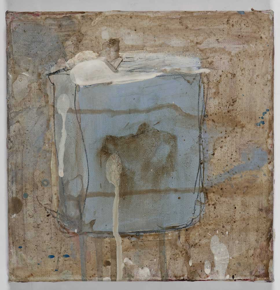 Matthew Bax, Chapter 1, 2011, acrylic, pencil, wax crayon, espresso, wood, binders on linen, 20 x 20cm