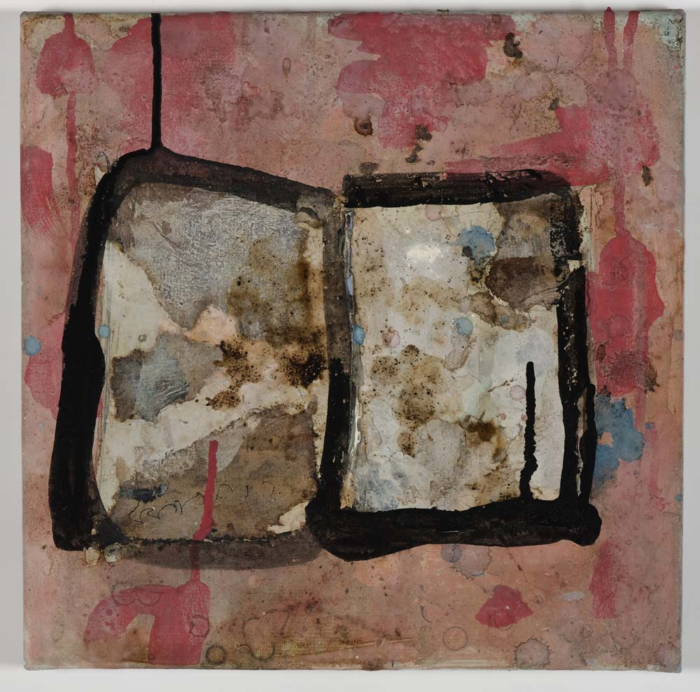 Matthew Bax,  Chapter 2 , 2011, acrylic, pencil, wax crayon, espresso, binders on linen, 30 x 30cm