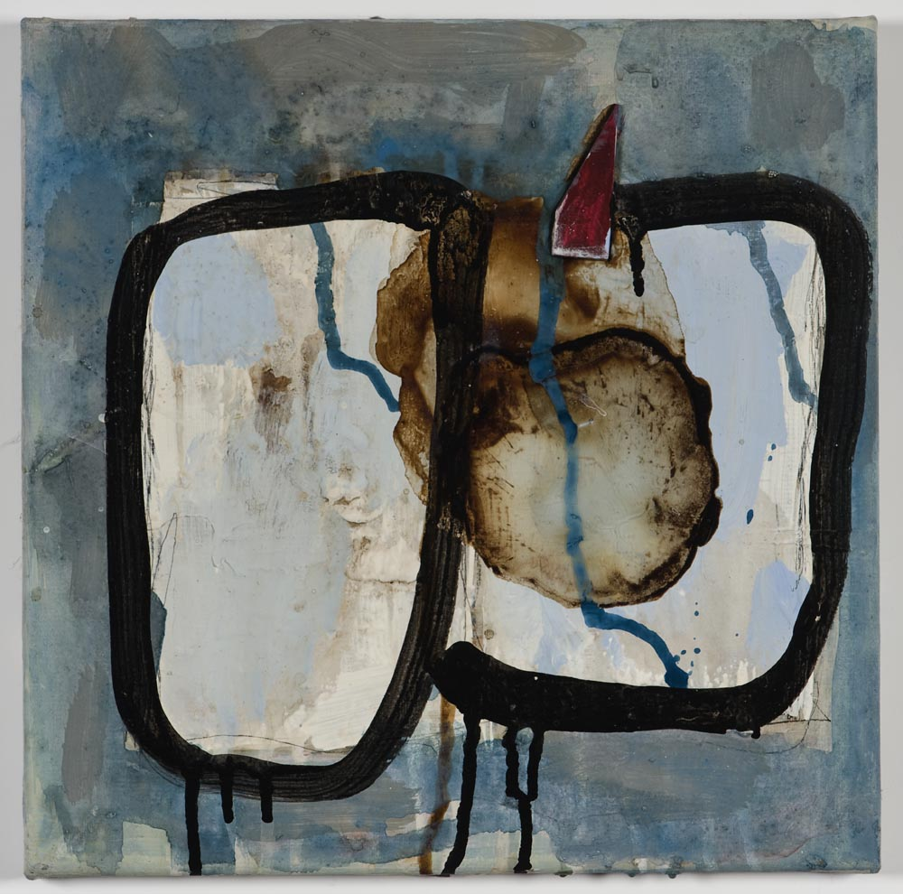 Matthew Bax,  Chapter 3,  2011, acrylic, pencil, wax crayon, espresso, wood, binders on linen, 30 x 30cm