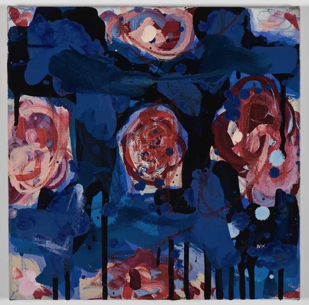 Matthew Bax,  Charlemagne Rose - Königsblau 2 , 2011, acrylic, wax crayon, binders on linen, 30 x 30cm