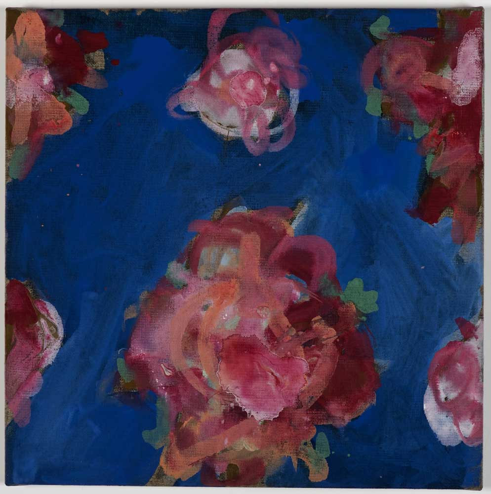 Matthew Bax,  Charlemagne Rose - Königsblau 1 , 2011, acrylic, wax crayon, binders on linen, 30 x 30cm