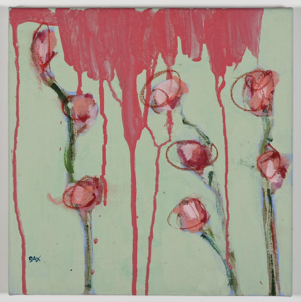 Matthew Bax,  Creeping Floral – Mint 1,  2011, acrylic, pencil, wax crayon, binders on linen, 30 x 30cm