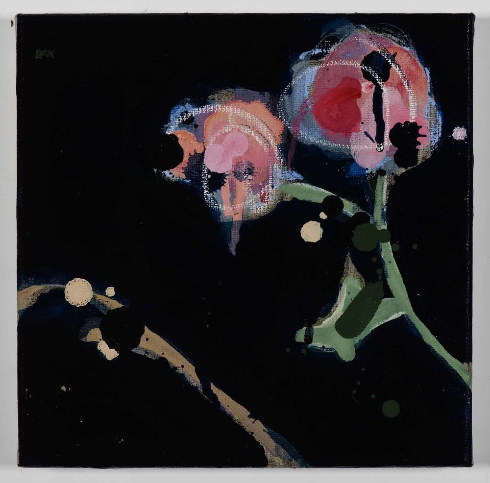 Matthew Bax,  Creeping Floral – Navy 1,  2011, acrylic, pencil, wax crayon, binders on linen, 20 x 20cm
