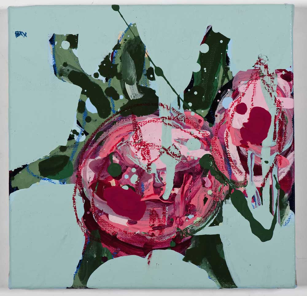 Matthew Bax,  English Rose – Sky Blue 1 , 2011, acrylic, wax crayon, binders on linen, 20 x 20cm