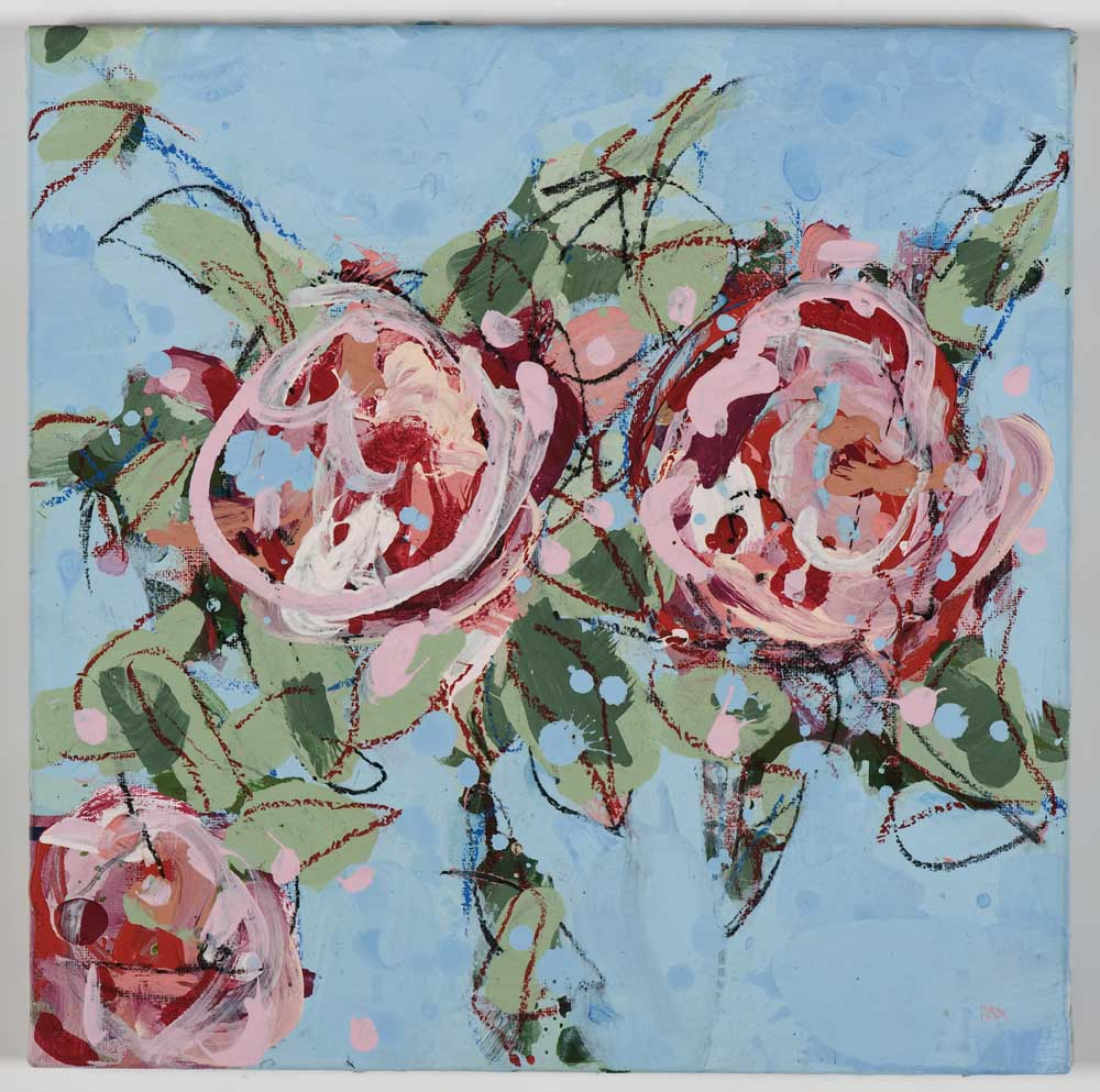 Matthew Bax,  English Rose – Sky Blue 2,  2012, acrylic, pencil, charcoal, wax crayon, binders on linen, 30 x 30cm