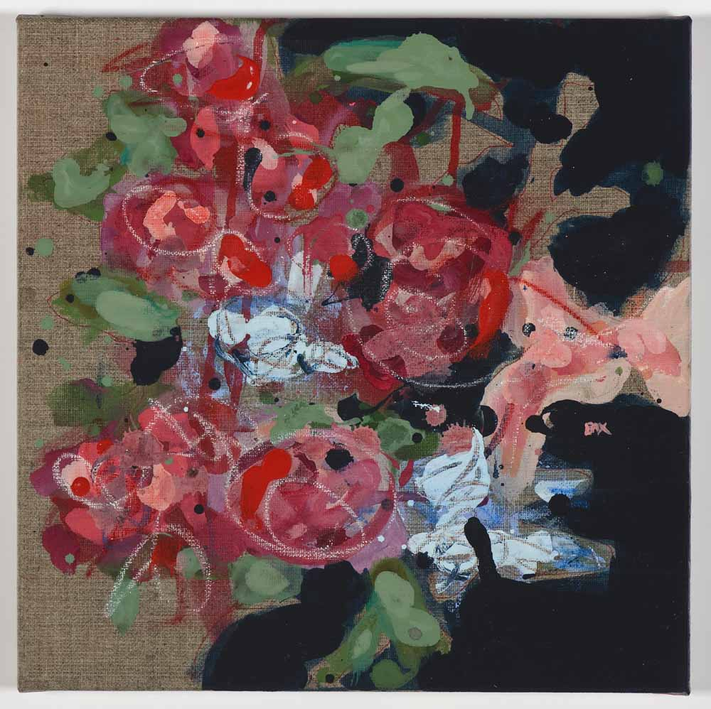 Matthew Bax,  Meredith Navy 1 , 2011, acrylic, pencil, wax crayon, binders on linen, 30 x 30cm