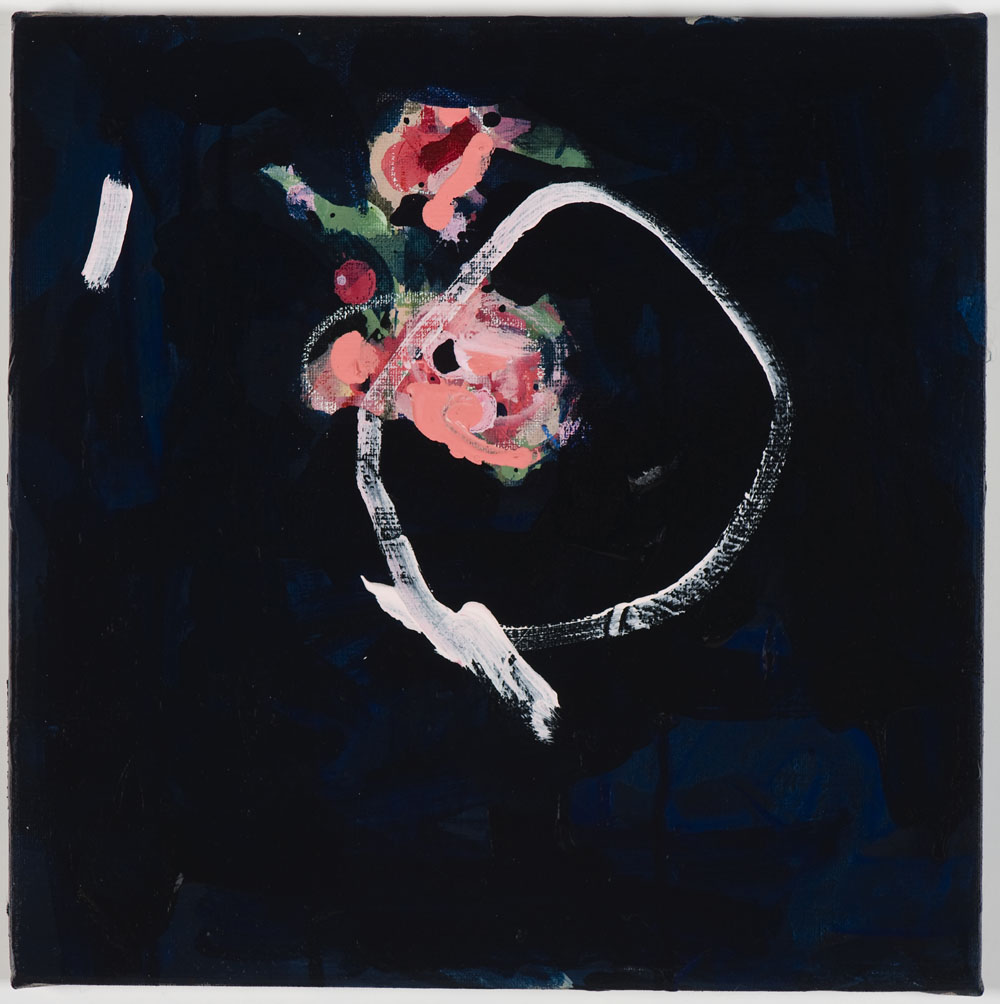 Matthew Bax,  Rose Garden – Navy 1,  diptych, 2012, acrylic, pencil, charcoal, wax crayon, binders on linen, 30 x 60cm, part 2