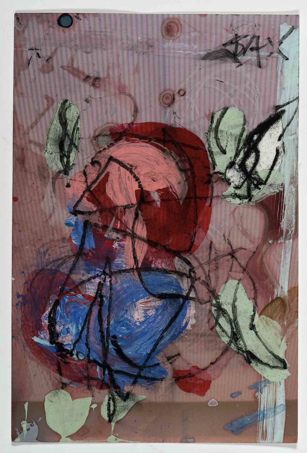 Matthew Bax,  Sample Afternoon Delight,  2012, acrylic, charcoal, pencil, wax crayon on paper, 15 x 10cm