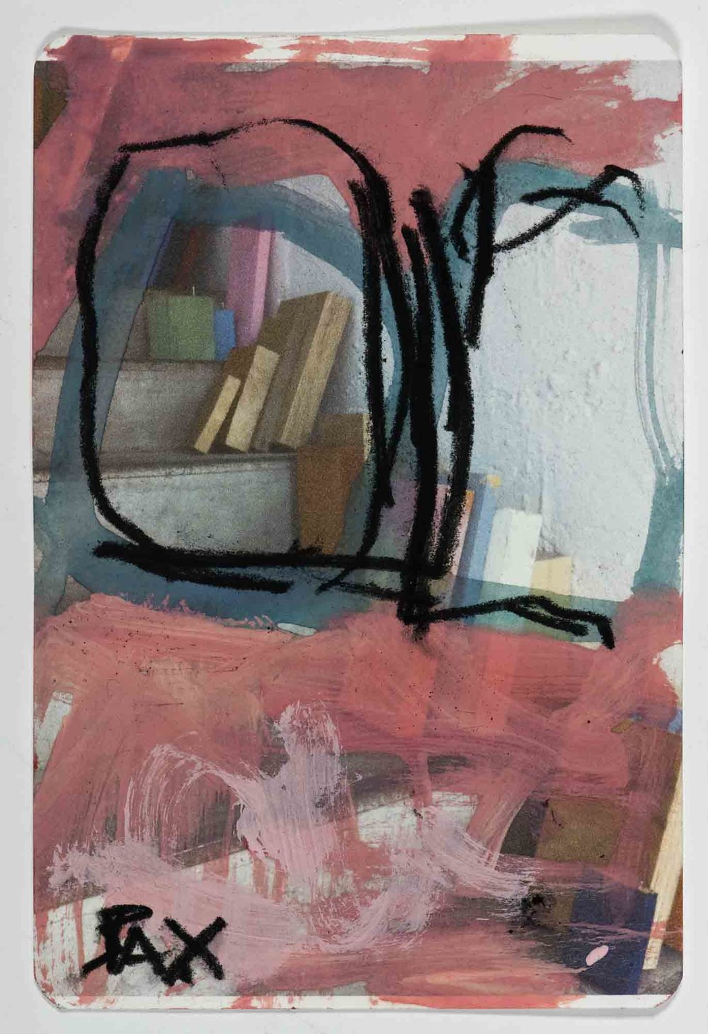Matthew Bax,  Sample Chapter 6,  2012, acrylic, charcoal, pencil, wax crayon on paper, 15 x 10cm