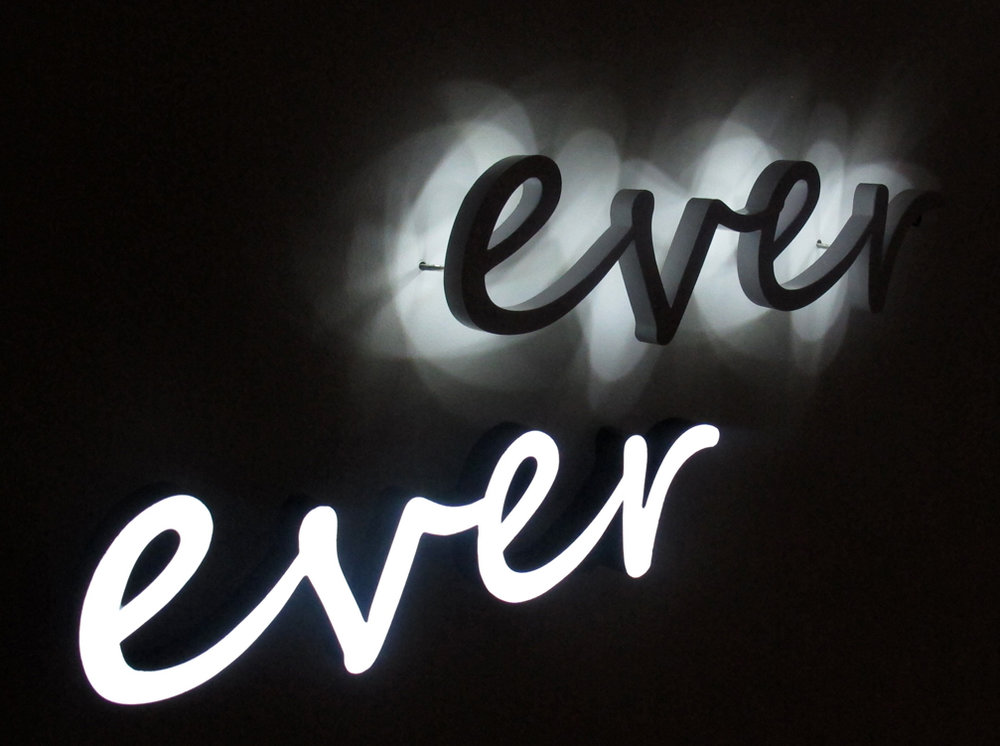 Jayne Dyer,  ever ever,  2011, each word 42 x 11 x 3cm