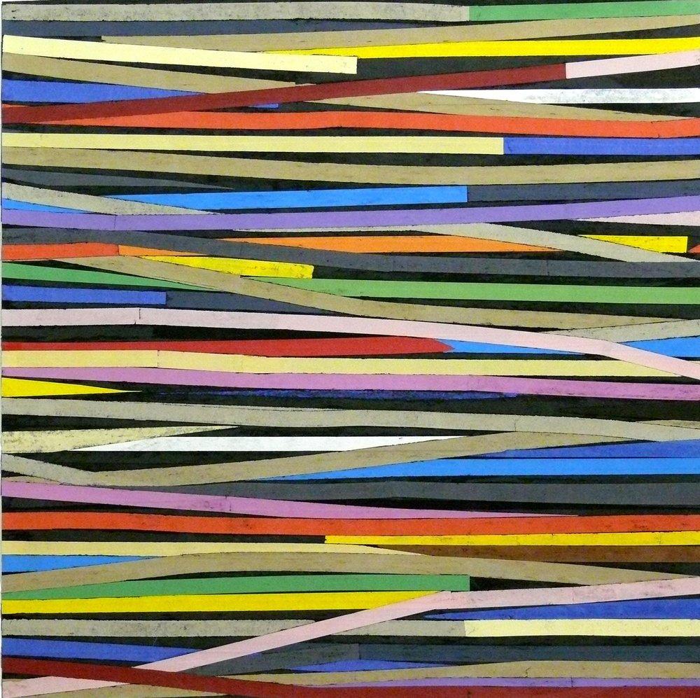 Sam Grigorian,  Play again Sam (2) , 2007, mixed media, decollage, 150 x 150cm, framed 164.5 x 164cm