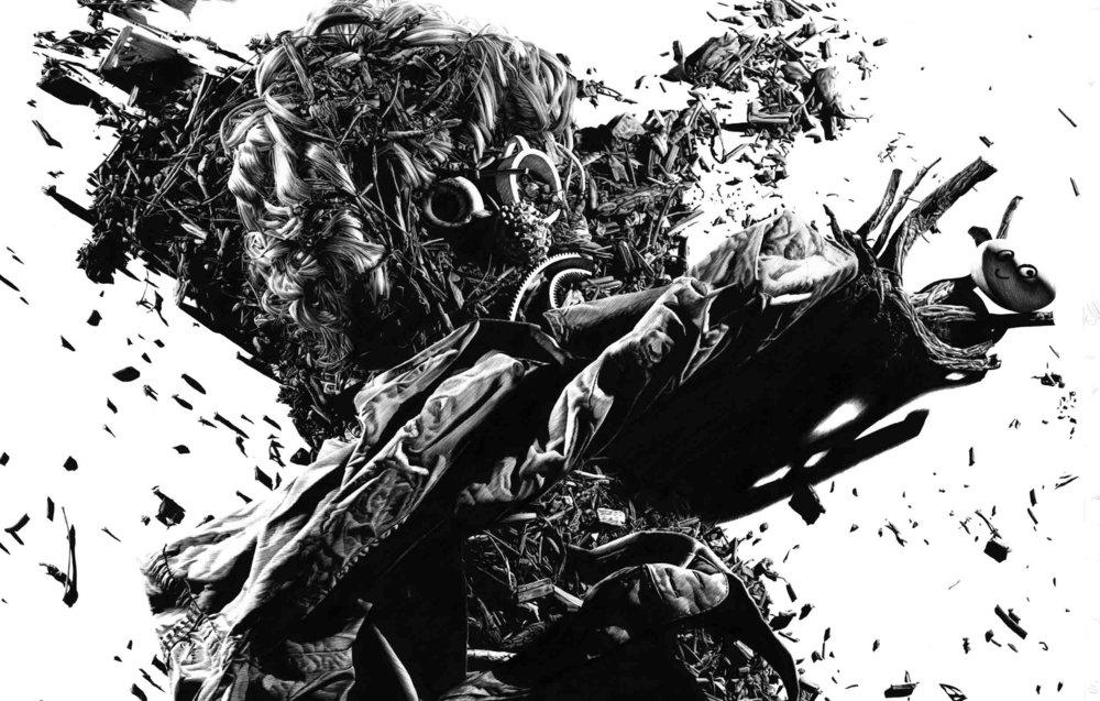 Matt Coyle,  Hot Mess , 2012, pen on paper, 68 x 89cm
