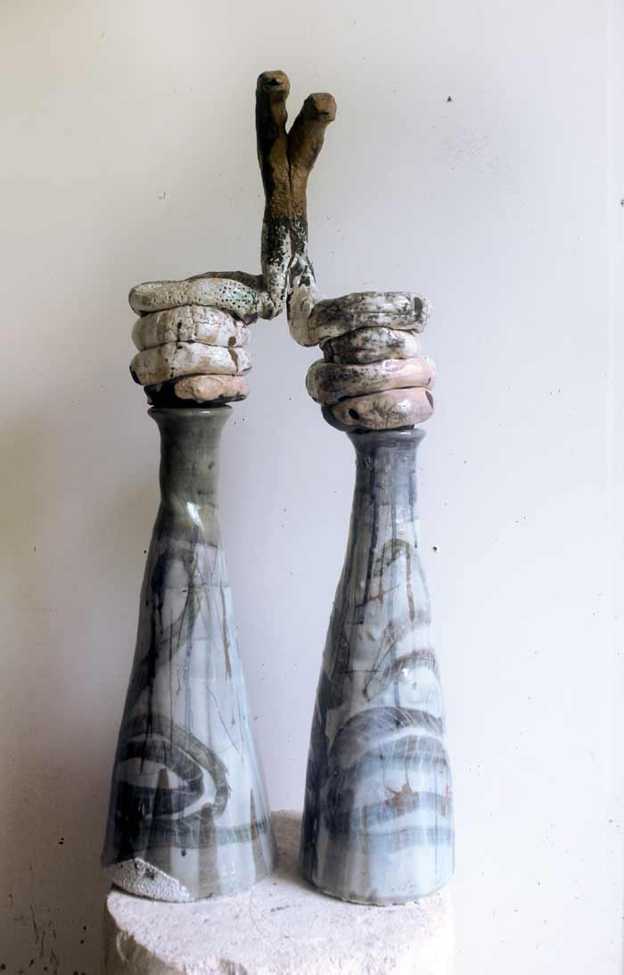 Aesclepius Brothers, 2017, stoneware ceramic glaze, Raku fired, 80 x 30cm In collaboration with Andrew Allen