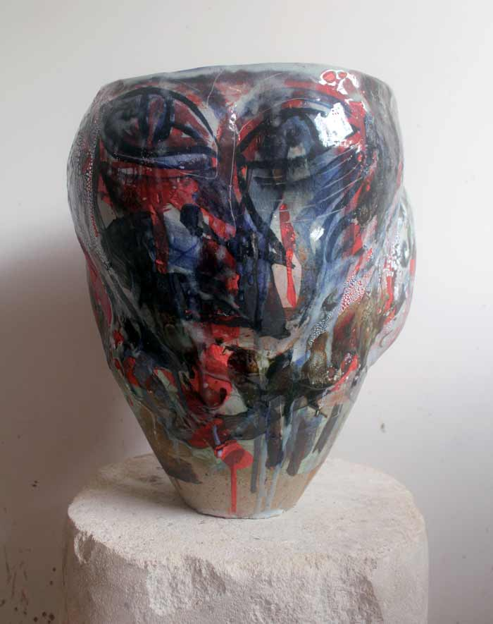Face Bowl Two , 2017, stoneware ceramic glaze, 41 x 29 x 29cm In collaboration with Andrew Allen
