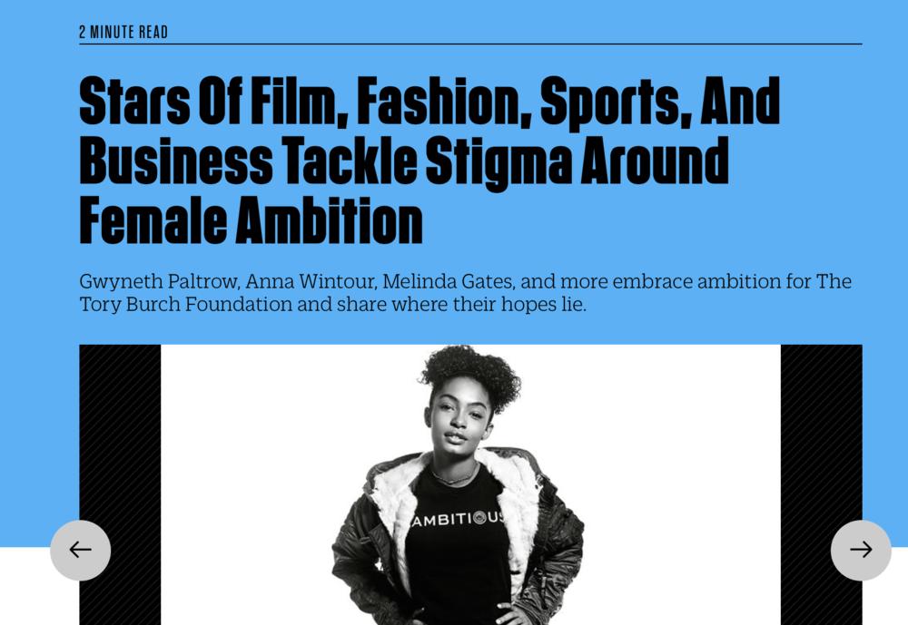 Fast Company 'Stars of Film, Fashion, Sports, and Business Tackle Stigma Around Female Ambition'