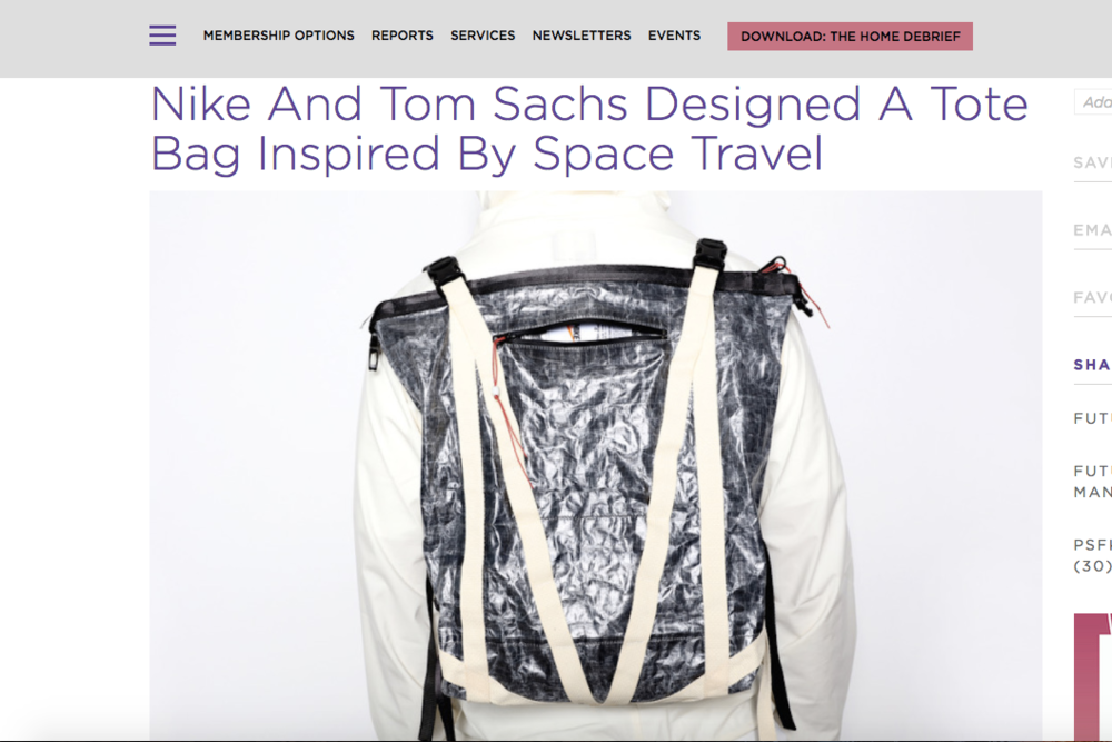 PSFK: The Good Flock's Space Grade Bag for Nike And Tom Sachs