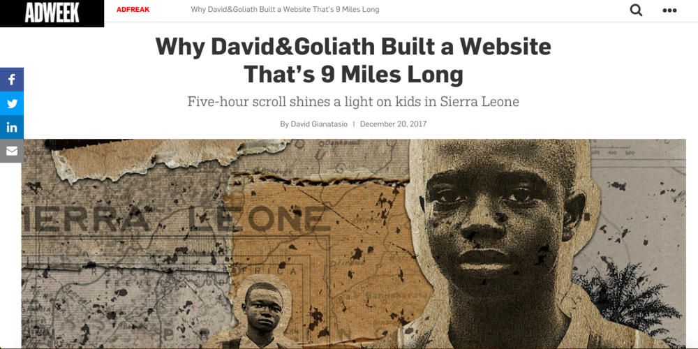 Adweek: Why David&Goliath Built a Website That's 9 Miles Long