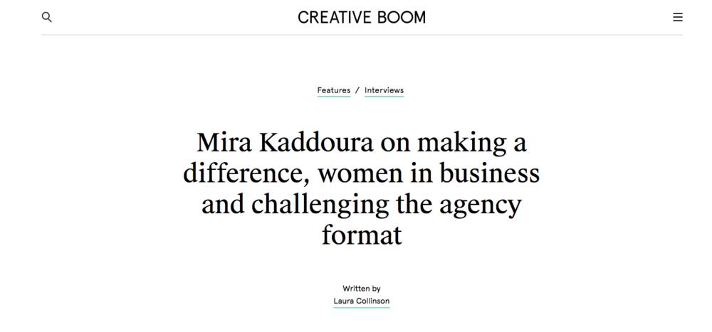 Creative Boom: Interview with Mira Kaddoura