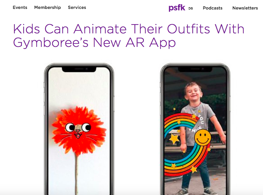 PSFK: Kids Can Animate Their Outfits With Gymboree's New AR App