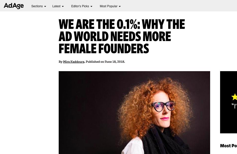 "AdAge: Mira Kaddoura's Op-Ed: ""We are the 0.1%"""
