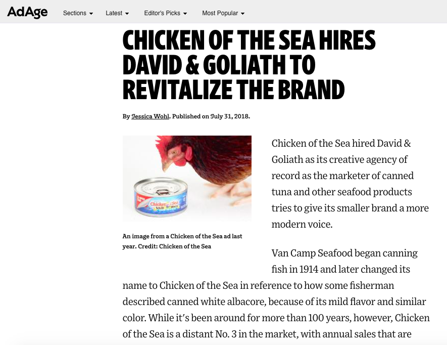 AdAge: Chicken of the Sea Hires D&G to Revitalize the Brand