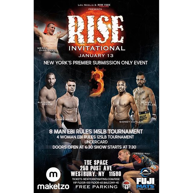 Going to @rise.submission.invitational tonight to watch some high level grappling. @newyorkfighting Let's Go !!!