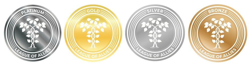 Image of League of Allies Seals of Inclusion: Platinum, Gold, Silver, and Bronze that can be earned, along with Certification, based on your Helix score.