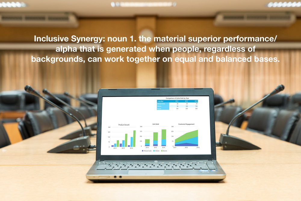 Boardroom with laptop showing results