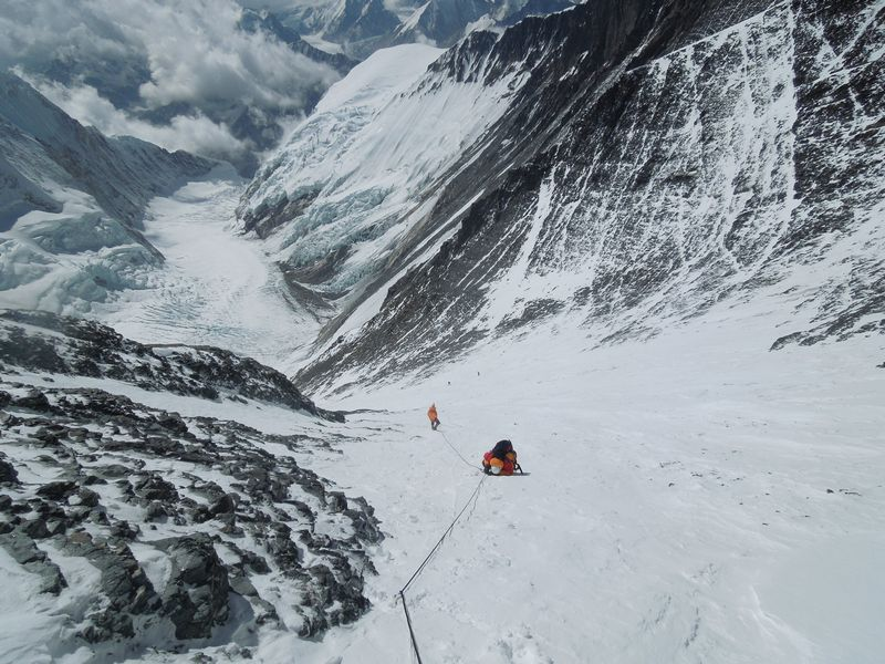 Lhotse Face is a 1,125 meter (3,690 ft.) wall of blue glacial ice.  It requires ropes to scale it.  These routes already have ropes affixed.  Of course we'll have to make sure they aren't too old or weathered for our use.