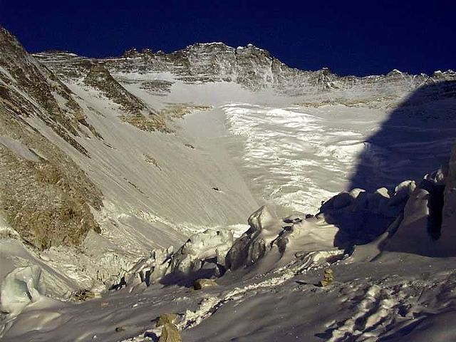 Lhotse Face, with Geneva Spur reaching down to the left.  Photograph by Olaf Rieck