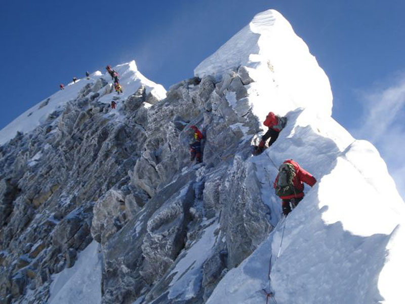 In the final push for the summit, climbers must face Hillary Steps, a vertical climb along a ridge with deadly drops on each side.  This is an extreme challenge for a person with bilateral above knee amputations.  It comes after weeks of effort, where the atmosphere is the thinnest.