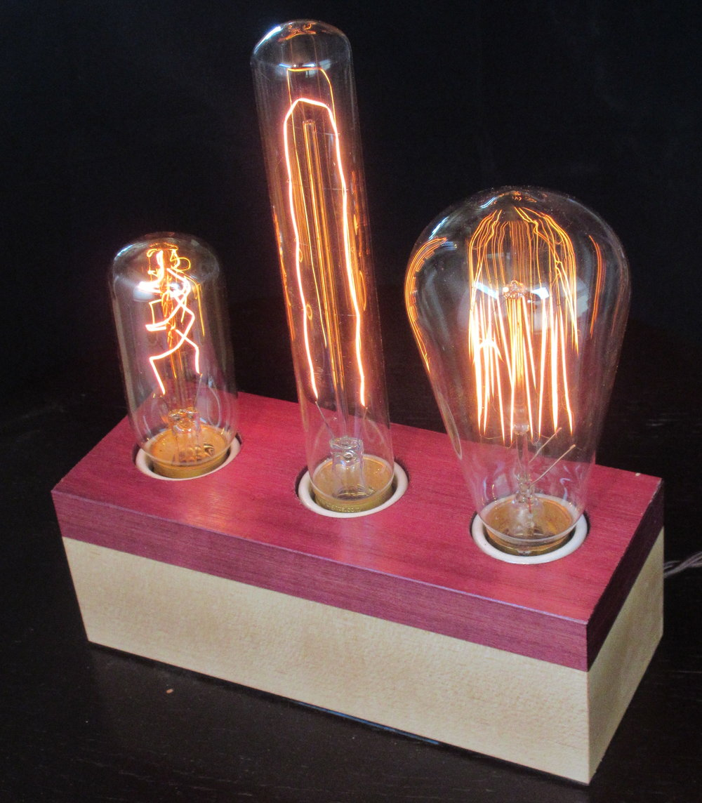 Purpleheart and Maple - 3 lamps