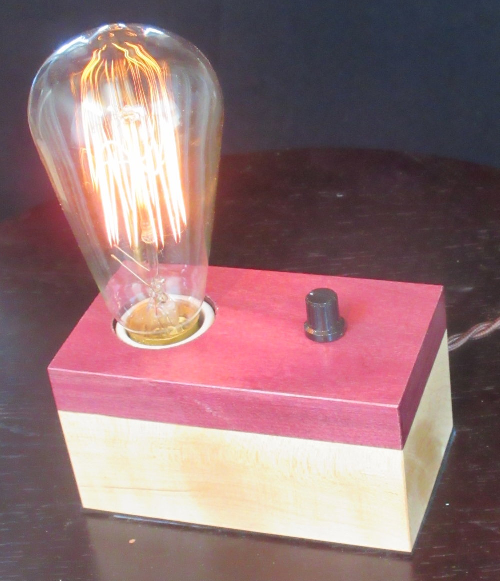 Purpleheart and Maple - 1 lamp