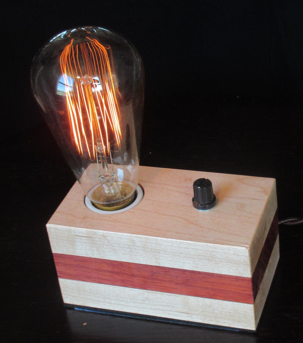 Maple with Horizontal Padauk Stripe - 1 lamp
