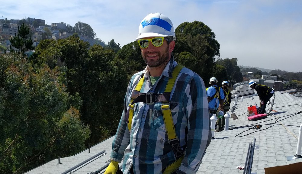 That's me on a roof in San Francisco installing solar with Grid Alternatives