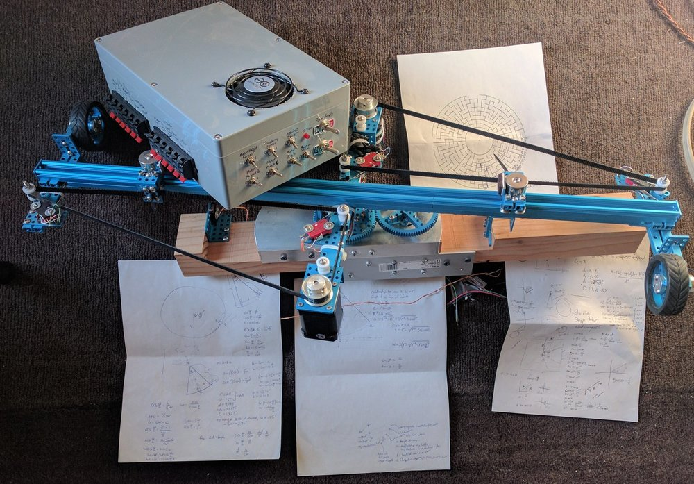 """My (unnecessarily complicated) polar plotting mechanism, sporting two independently controlled """"pens"""""""