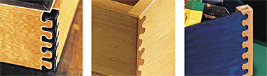 "Examples of the unique ""isoloc"" joints that accomplish the same joinery effect as a dovetail, but with a more organic form."