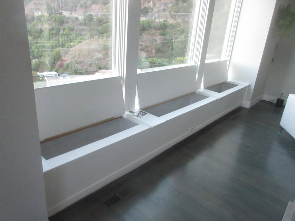"""""""Emergency"""" wood working project in Sausalito to complete the half-finished storage benches below the focal point bay-view windows of a beautiful home days before a housewarming, that had been left undone for several months by the prior contractor."""