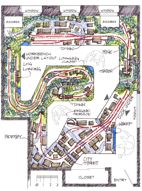 The original On30 layout plan drawn in 2004. The city area changed over time.