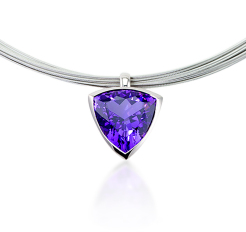 Amethyst pendant bezel set white gold and 18k chain