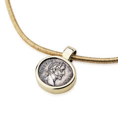 Ancient roman coin pendant in 18k gold