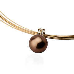 Chocolate pearl and diamond pendant on 18k gold chain