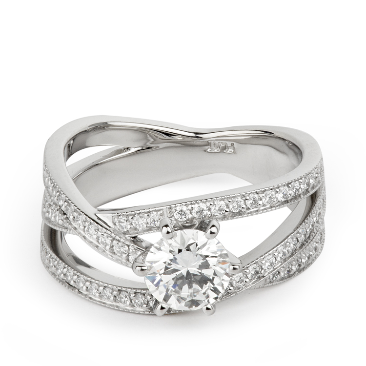 Criss crossing diamond band solitaire